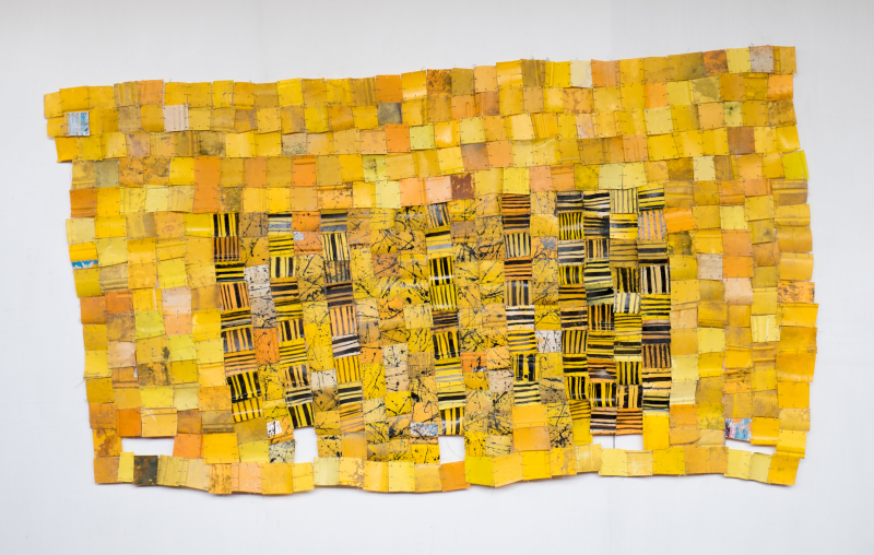 Serge Attukwei Clottey, I Shall Return, 2016, plastics, wire and oil paint, 104'' x 56'' , courtesy the artist and Gallery 1957