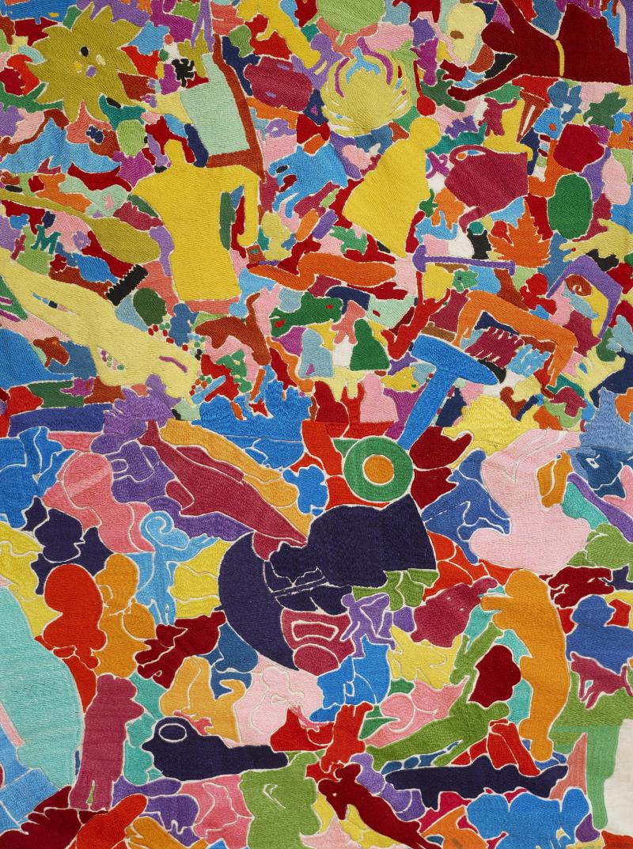 6. Alighiero Boetti  Tutto  1992-94  ricamo su tessuto  255 x 595 cm  dettaglio. Courtesy Tornabuoni Arte