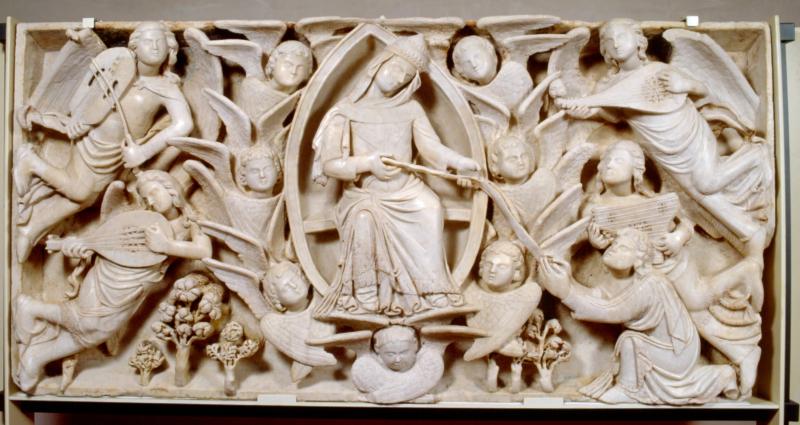 7 Niccolï di Cecco del Mercia  L'Assunta offre la Cintola a S.Tommaso  1340-60  Prato  Museo Opera Duomo