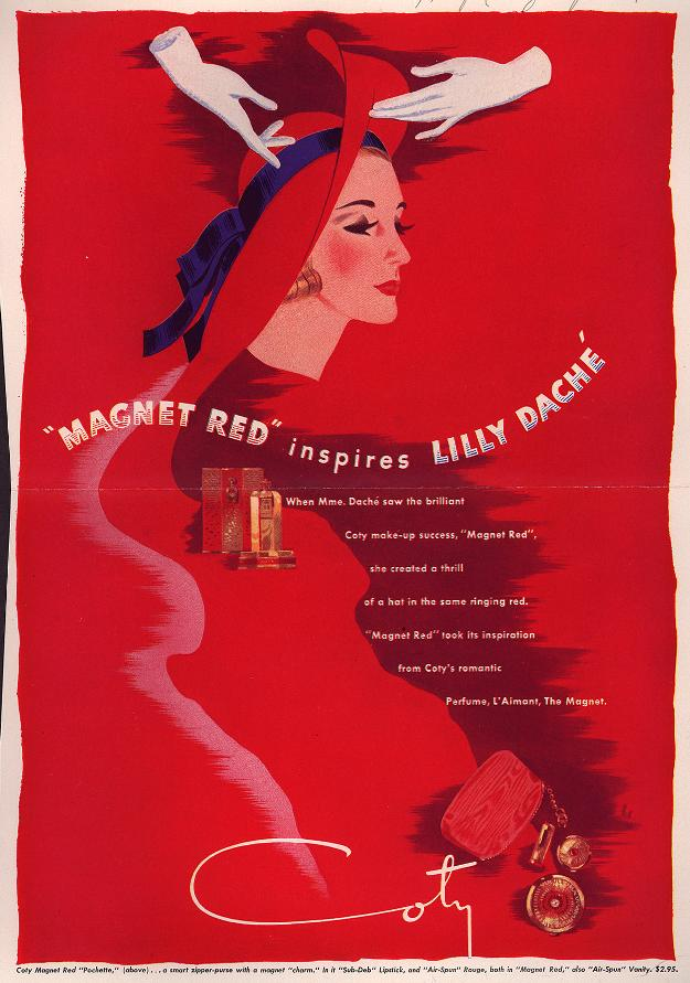 LillyDache_1940 Coty. Magnet Red inspires Lilly Daché.