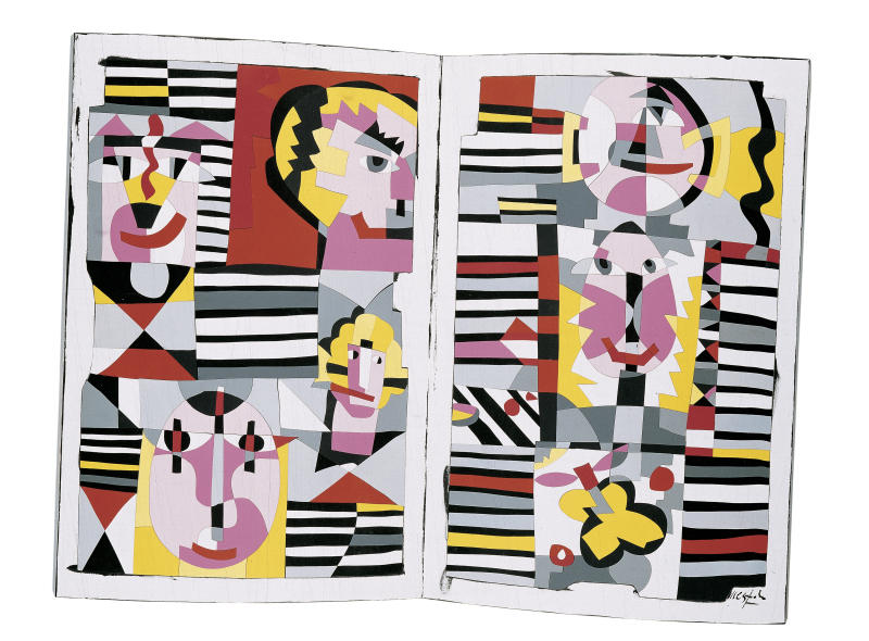 11_Ugo Nespolo  Faces  2004  acrilici su legno modellato  73 x 97 5 x 9 cm