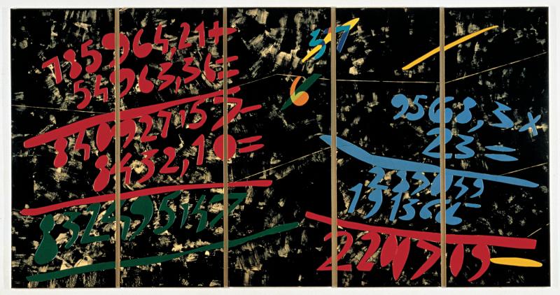 Ugo Nespolo  Grande conto  1981  acrilico su legno ritagliato  160 x 300 cm
